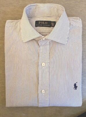 Polo Ralph Lauren Men's white/blue Striped cotton shirt size 15 1/2