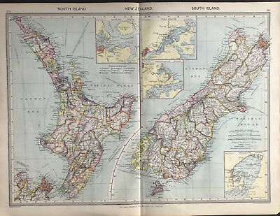 Antique Map NEW ZEALAND North & South Islands 1906 Original litho color, detail