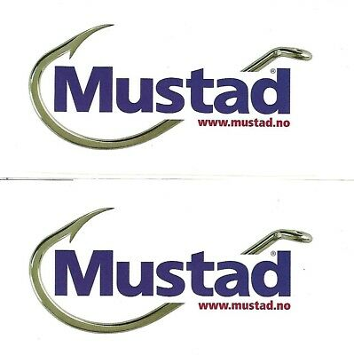 2 x Mustad Fishing Stickers from Norway 15cm x 7cm - MINT!