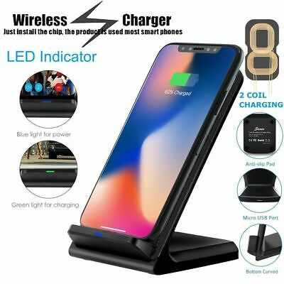 Qi Wireless Fast Charger Charging Pad Stand Dock iPhone X Samsung Galaxy S9+ Lot