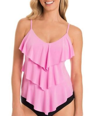 99e1760b2bc1e Magicsuit by Miraclesuit Rita Solid Pink Tiered Tankini Top Size 8 NEW  Slimming