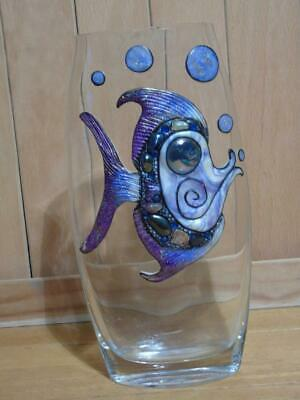 Glass Vase with fish decoration