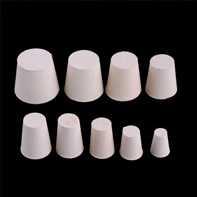 10x Rubber Stopper Bungs Laboratory Solid Hole Stop Push-In Sealing Plug RDR