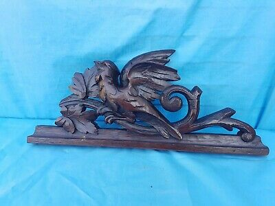 Antique French: Black Forest Pediments, Solid Oak, 19th, Carved Birds