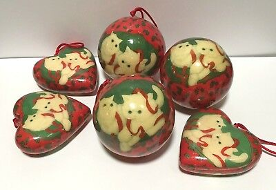 Vintage Paper Mache 3 Ball 3 Heart Christmas Cat Ornaments Decoupage Entire Lot!