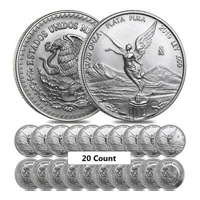 Lot of 20 - 2019 1/20 oz Mexican Silver Libertad Coin .999 Fine BU