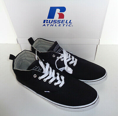 Mens Russell Athletic Trainers Black Mid Cut Lace Up New Shoes UK Sizes 8 10 11