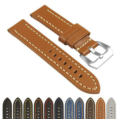StrapsCo Heavy Duty Men's Leather Watch Band w/ Stitching - Quick Release Strap