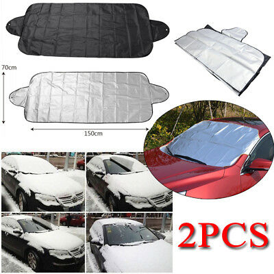 2 Car Windshield Front Rear Window Sun Shield Rain Snow Shade UV Cover Protector