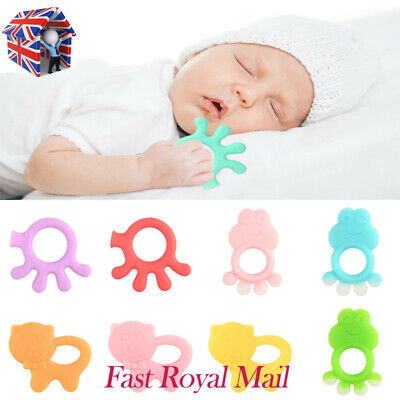 Baby Teether Silicone Soft Octopus Cat Frog Chew Molar Teething Toys Soother UK
