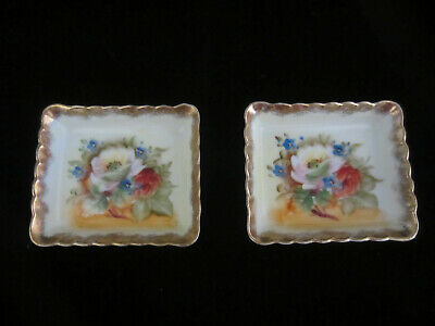 Vintage Pair Of Japanese Takiro Hand Painted Floral Nut Dishes Beautiful!