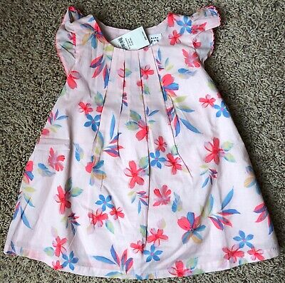 7d52821f6 NWT Baby Gap Girls 6-12 Months Pink Flower Pleated Flutter Sleeve Dress