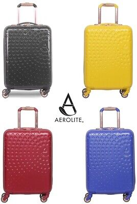Aerolite Hard Shell 4 Wheel Hand Cabin Luggage Suitcase Built In USB Phone Port