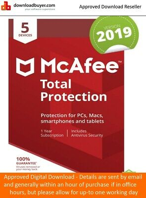 McAfee Total Protection Software 2019 5 Device's 1 Year Licence - NEW