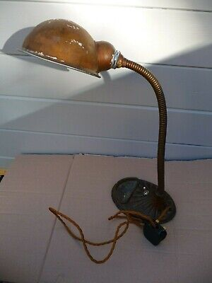 Antique Art Deco 1930'S Old Iron Table Lamp Switched Flexable Arm Heavy Base
