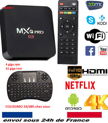 MXQ 4K ANDROID TV QUAD CORE SMART BOX 2GB RAM/16GB DECODER  boitier iptv