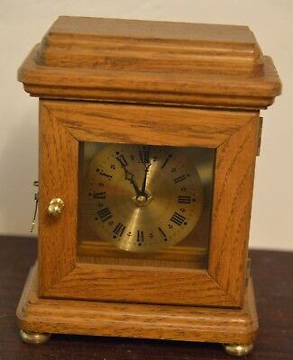 "Wooden Mantle clock 8 1/2"" tall with Hermle quartz movement"