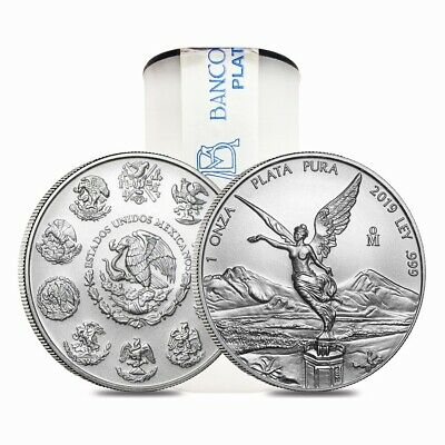 Roll of 25 - 2019 1 oz Mexican Silver Libertad Coin .999 Fine BU (Tube,Lot of