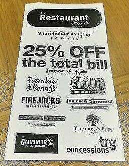 25% off The Total Bill Frankie & Benny's Chiquitos Voucher no reserve