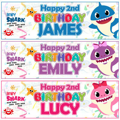 2x Personalised BABY SHARK Doo Doo Birthday Banner Kids Party Decoration 1st 2nd