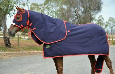 Rumani Pure Cotton Drill SUMMER Navy HORSE SHOW RUG HOOD TAIL BAG SET - Red Trim