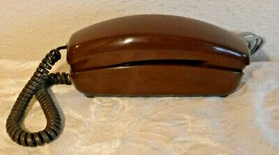 Working Rotary Dial Brown in Color Western Electric Trimline Telephone Vintage