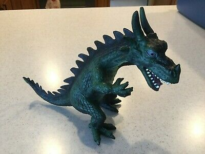 Toy Major Rubber Dragon Metallic Blue Gold Standing Figure 2007 Medieval Monster Action Figures Animals & Dinosaurs
