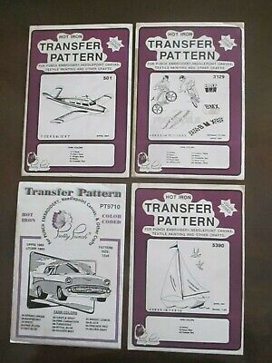 Pretty Punch Embroidery Iron-on Transfer Patterns Lot of 4 Plane, Auto +