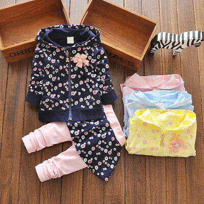 2pcs toddler Kids baby girl clothes cotton outfits tracksuit hoodie jacket+pants