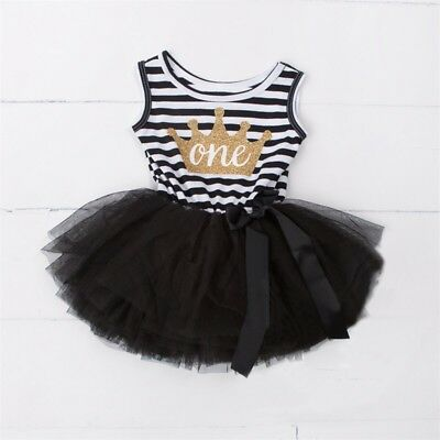 Baby Girls 1st One Birthday Dress Outfit Black & White & Gold