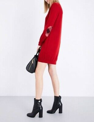Burberry  Alewater Elbow Patch Merino Wool Dress parade red L New with tags $495