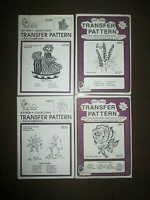 Pretty Punch Embroidery Iron-on Transfer FLORAL Patterns Lot of 4