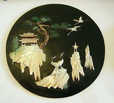 VINTAGE 1920s CHINESE PLAQUE BLACK LACQUER WOOD WITH DELICATE CARVED MOP STORKS
