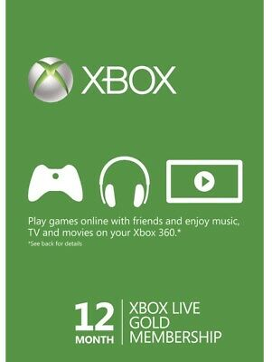 12 Month Xbox Live Gold Membership For Xbox One/xbox 360 (U.S)