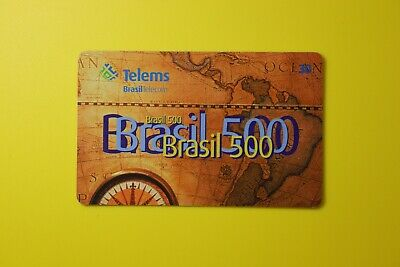 Brasil 500 Telecom Telems -World Map -Collectibles Old Vintage Tele Phone Card