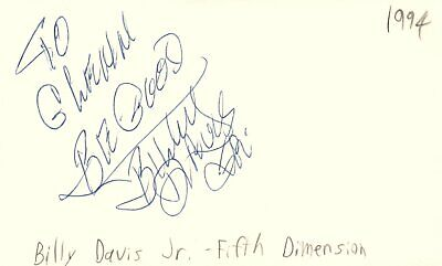 Billy Davis Jr Musician Fifth Dimension Music Autographed Signed Index Card