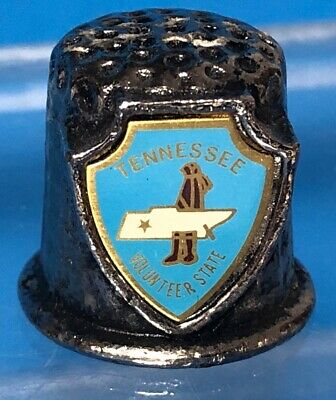 Vintage Pewter Metal Tennessee Volunteer State Souvenir Enamel In Shield Thimble