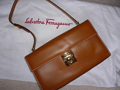 5f43122acef9 NWT Salvatore Ferragamo camel saddle brown LOGO leather bag gorgeous  authentic