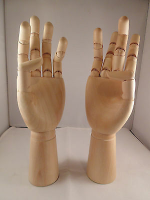 "12"" (300mm) ARTISTS WOODEN LEFT & RIGHT HANDS MANIKIN MANNEQUIN - RRP £29.99"