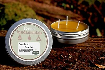 LARGE 100/% NATURAL BEESWAX 3 WICK EMERGENCY SURVIVAL CANDLE BUSHCRAFT CAMPING
