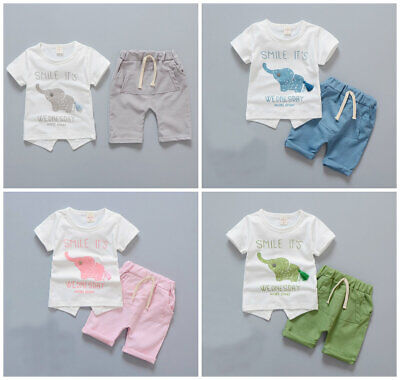 2pcs boys girls summer daily outfits set soft cotton Tee+short pants animal
