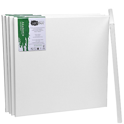 Artina Academy Blank Canvases 5 Set 40x40 cm Square Large Stretched 100% Cotton