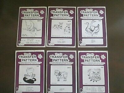 Pretty Punch Embroidery Iron-on Animal Patterns Lot of 6