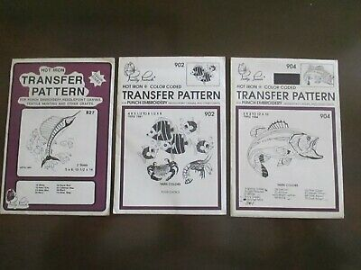 Pretty Punch Embroidery Iron-on FISH Patterns Lot of 3