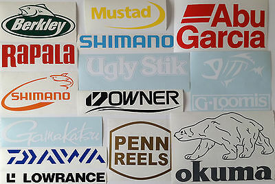 Fishing Stickers Decals Set of 12 New Outdoor Pack Shimano Berkley Daiwa Penn