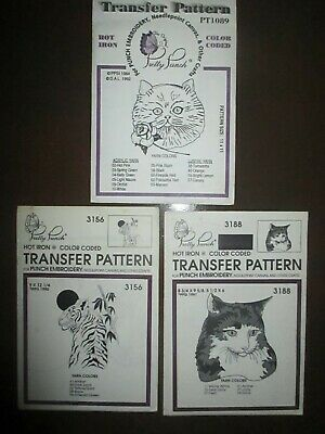 Pretty Punch Embroidery Iron-on CAT Patterns Lot of 3