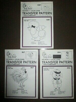 Pretty Punch Embroidery Iron-on Patterns Rooster Piggy & Poodle