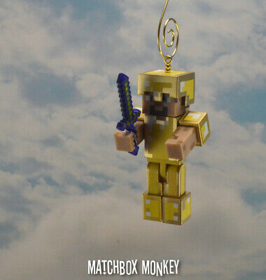 STEVE WITH GOLD Armor Minecraft figure Custom Christmas Ornament HOT! Golden