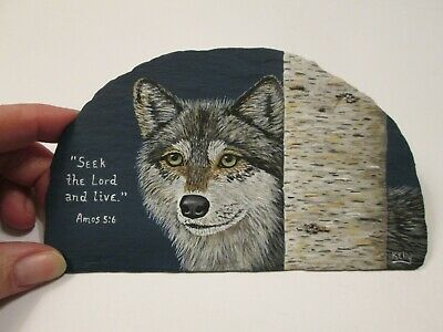 Wolf and Bible Verse hand painted on slate by Ann Kelly