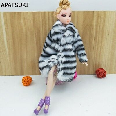 "Black White Zebra Fashion Doll Clothes For 11.5"" Doll Coat Winter Wear Clothing"